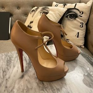 Louboutin Nude T-Strap Alta Poppins platforms